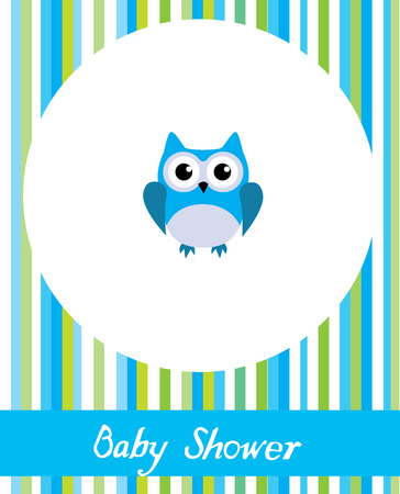 baby announcement card: vector baby shower card with cute owl
