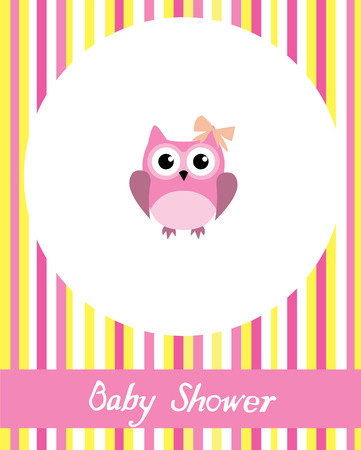 vector baby shower card with cute owl Stock Vector - 35253915