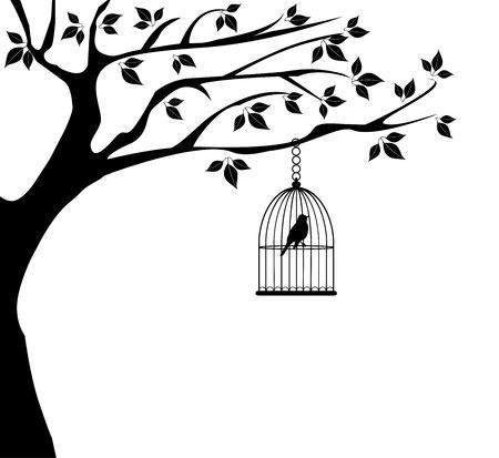 vector tree with birds and bird cage Stock Illustratie