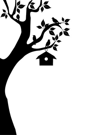 art contemporary: vector tree with birds and bird house