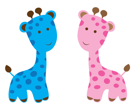 baby announcement card: vector baby shower card with cute giraffes