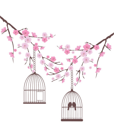 cherry branch: vector cherry blossom branches with birds in a cage Illustration