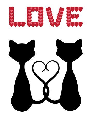 silueta de gato: gatos siluetas vector para el día de San Valentín Vectores
