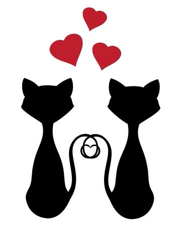 벡터 고양이는 발렌타인 데이를위한 실루엣 일러스트
