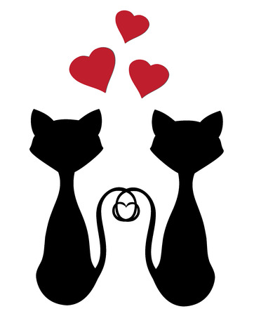 vector cats silhouettes for valentine day Vectores