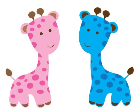 baby toy: vector cute baby giraffes