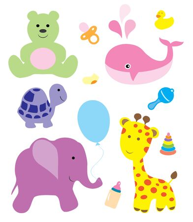 cute baby girls: vector baby shower card with cute animals