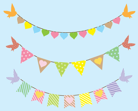 vector bunting with birds and hearts Stock Illustratie
