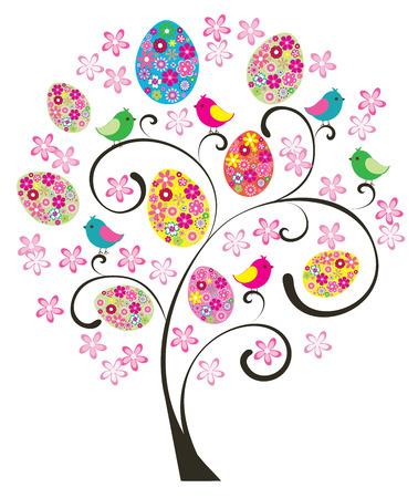 arbol de pascua: vector �rbol de Pascua con aves y huevos florales