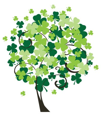 vector tree for st. Patrick day with shamrock leaves
