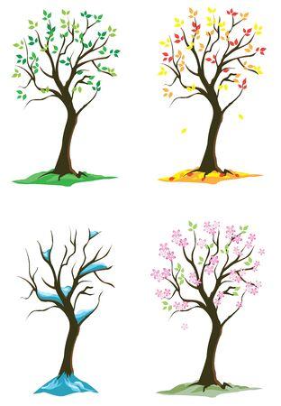 vector four season trees 일러스트