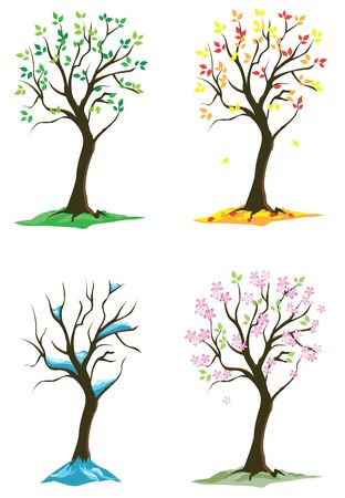 vector four season trees 矢量图像