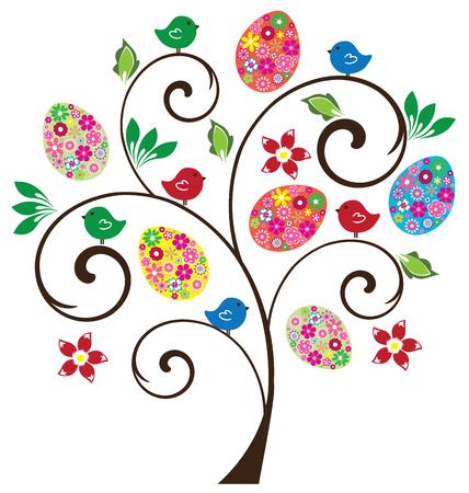 arbol de pascua: vector árbol de Pascua con flores, aves, huevos Vectores
