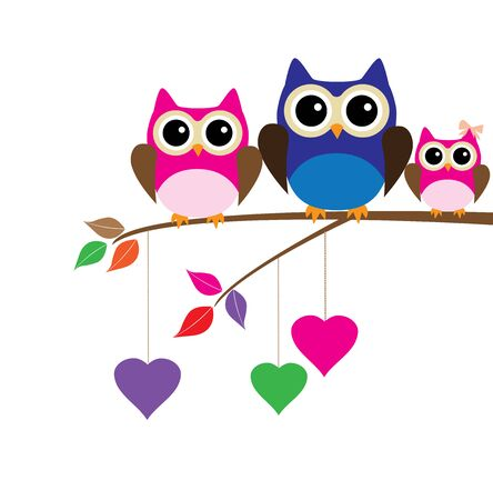 vector owls sitting in the tree with hearts Ilustracja