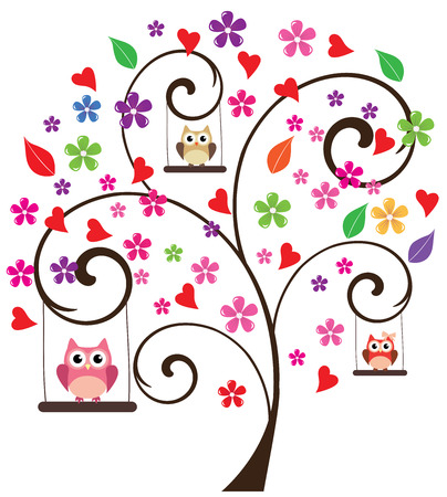 owl illustration: tree with owls swinging and flowers