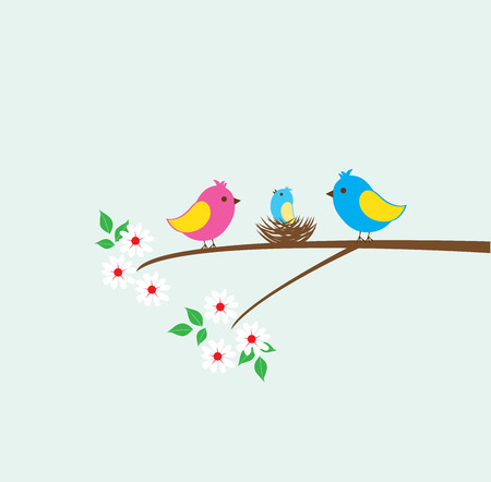 freedom couple: vector birds family and a nest Illustration