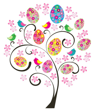 easter tree: vector Easter tree with floral eggs, birds, flowers