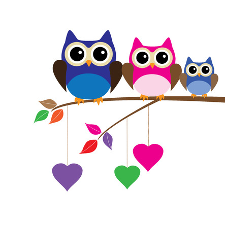 vector funny owls sitting in the tree branch