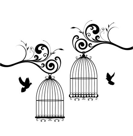 arboles blanco y negro: vector Vintage jaulas de pájaros