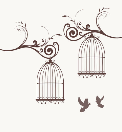 vector vintage bird cages Illustration