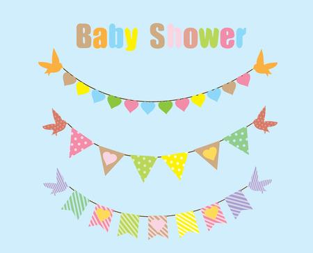 vector baby shower bunting with birds Stock Illustratie
