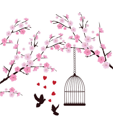 vector cherry blossom with doves, hearts, cage