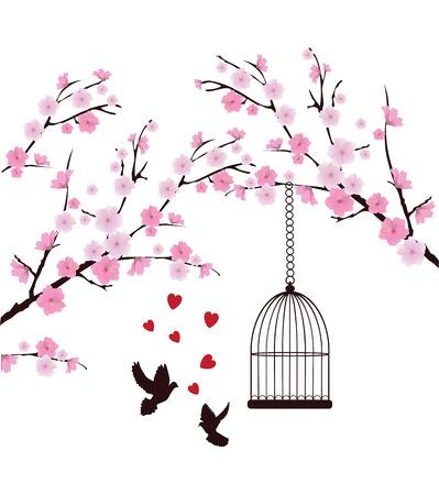 Vektor-Kirschblüte mit Tauben, Herzen, Käfig Standard-Bild - 38019319
