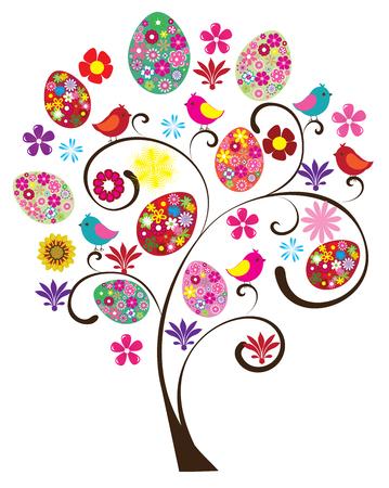 arbol de pascua: vector de Pascua con huevos de flores, p�jaros, flores