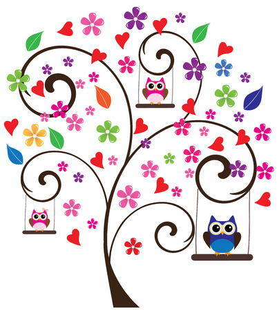 owl illustration: vector tree with flowers and owls swinging