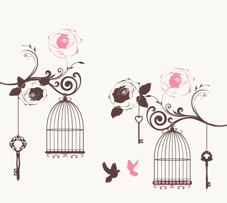 bird cage: vector vintage card with doves, cages and keys Illustration