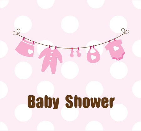 baby clothes: vector illustration of a card with baby clothes