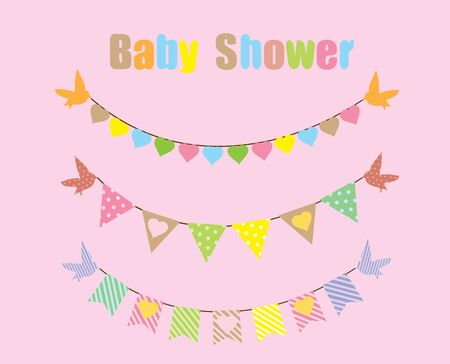 vector bunting baby shower card with birds Vector