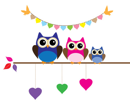 owl family: vector illustration of an owl family with bunting and hearts