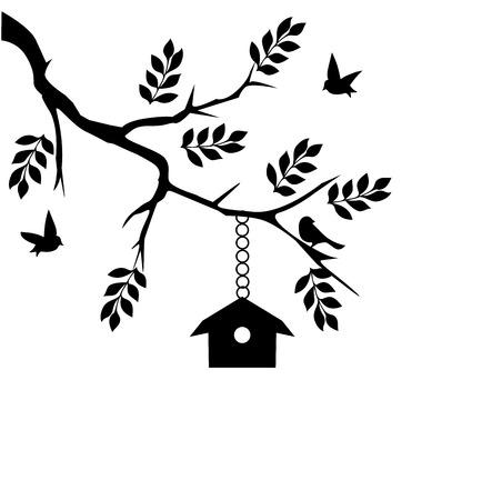ast: Vektor-Illustration von einem Vogelhaus im Baumzweig