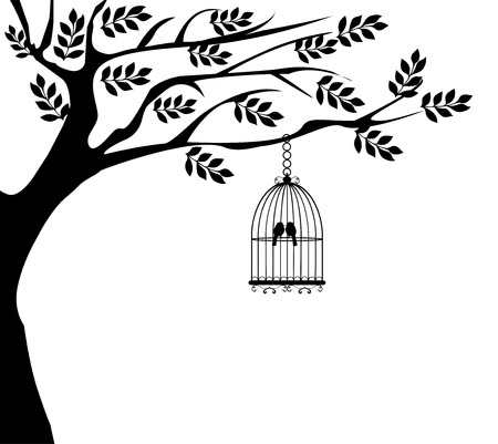 open wings: vector illustration of a tree with bird cage