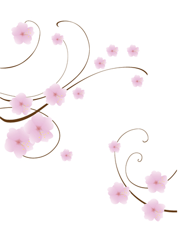 abstract swirls: vector illustration of abstract floral swirls background with cherry flowers Illustration