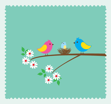 freedom couple: vector illustration of a bird family with a nest