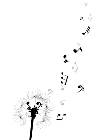 vector illustration of a dandelion flower silhouette