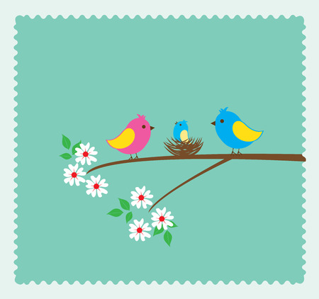 love tree: vector illustration of a bird family with nest