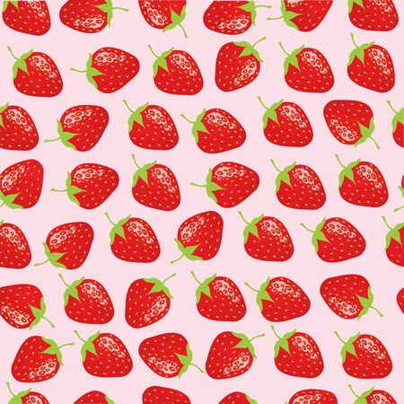 vector illustration of abstract seamless juicy strawberries background