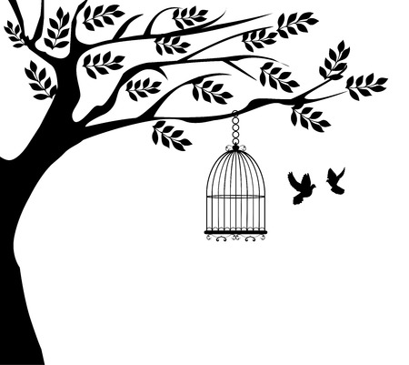 vector illustration of a tree with cage and doves