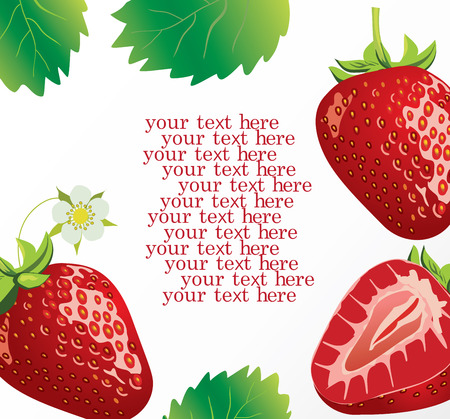 vector illustration of a card with strawberries with space for your text