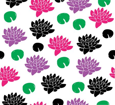 vector illustration of seamless lotus flower background