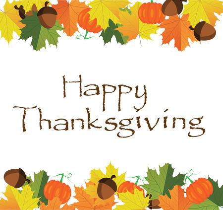 感謝祭のイラスト秋の葉、カボチャ、ドングリと背景  イラスト・ベクター素材