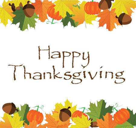 illustration of thanksgiving fall background with leaves, pumpkins, acorns