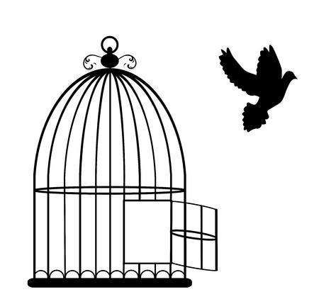 silueta: ilustración de una tarjeta de la vendimia con la jaula de vuelo abierto y paloma Vectores