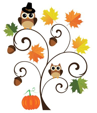 fall leaves: illustration of thanksgiving fall background with leaves, pumpkins, acorns and owl in a hat