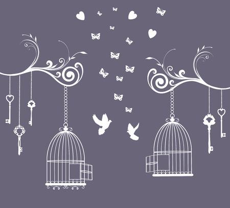 oiseau dessin: illustration d'une carte vintage avec cage ouverte et les cl�s