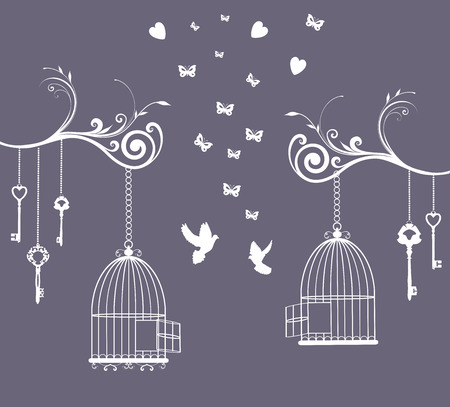 bird cage: illustration of a vintage card with cage open and keys