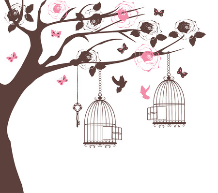 flowers on white: vector illustration of a vintage bird cage with doves